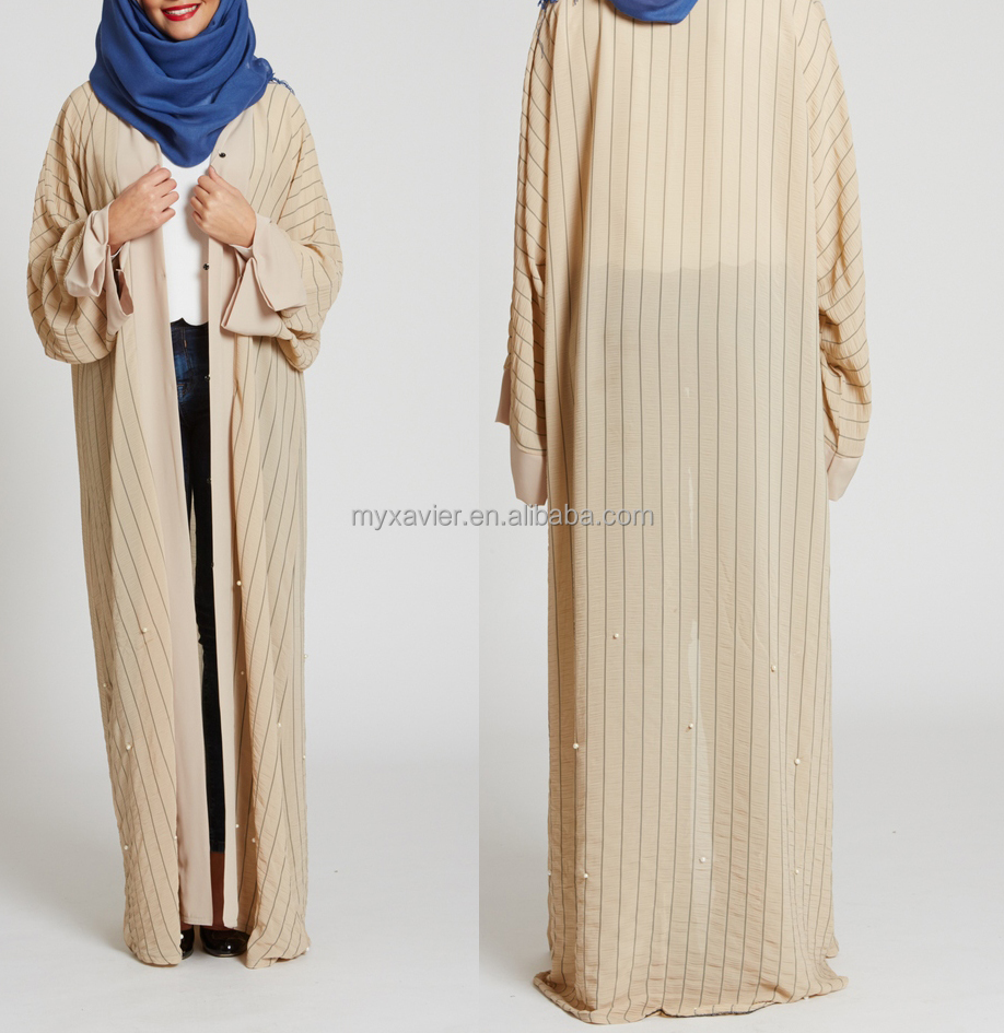 Wholesale muslin kimono abaya with white pearls stripe dubai abaya fashion maxi front open abaya