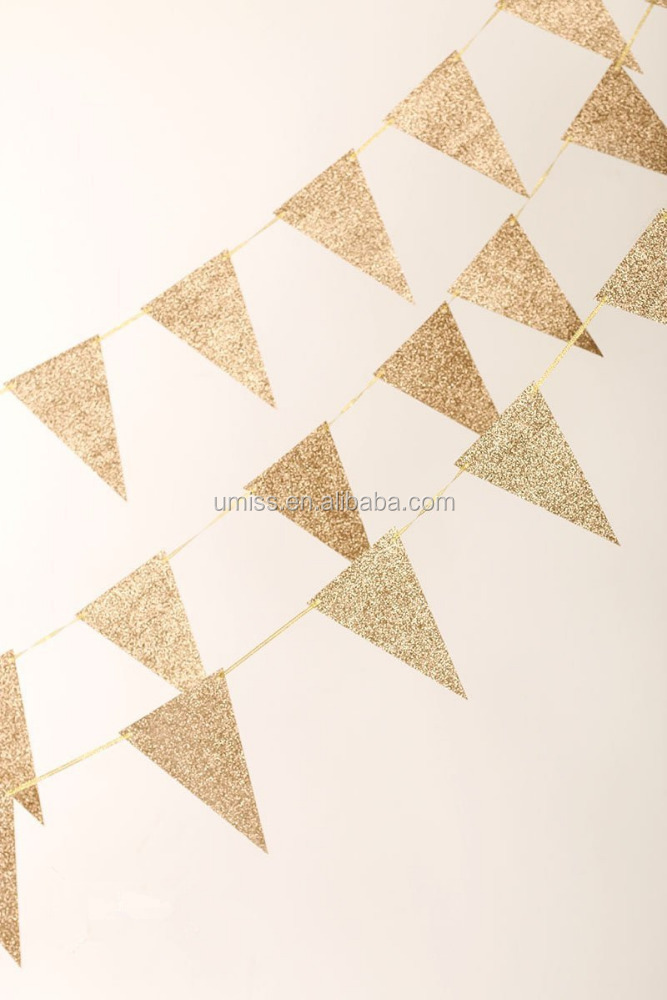 Rose Gold Glitter Decorative Flags Triangle Banners, party supplies metallic decorations