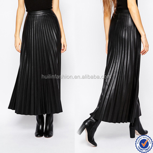 women fashion sexy shiny pleated faux leather skirt tight maxi long skirt