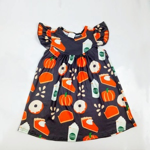 Halloween Kids Print Dress Casual Baby Girls Ruffle Dresses Children Boutique Clothing