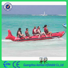 hot sale inflat sea banana boat in shark shape inflatable banana boat/ flying fish boat in red color