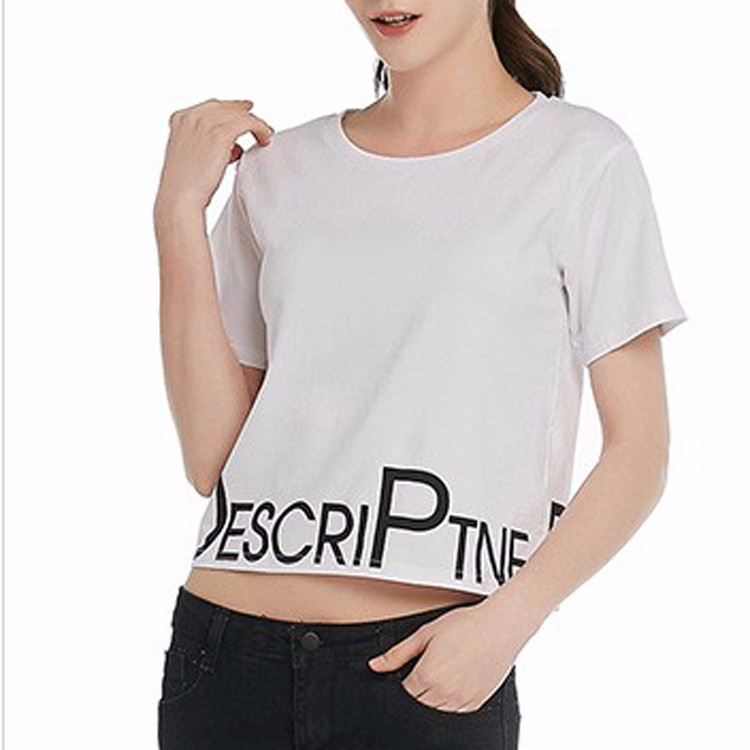 Women Best Sell Sexy Crop Top Ladies Short Sleeve T-shirt Basic Stretch T-shirts