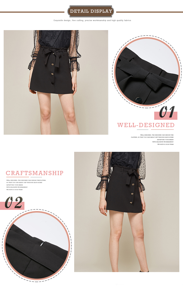 Modern Stylish Black Casual A-line Mini Skirts Female