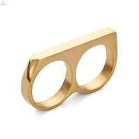 Personality Simple Punk Stainless Steel Gold Plating Double Two Finger Ring