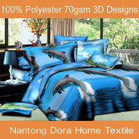 3d Animal Prints Bed Sheet Set, design dolphin swimming bed set 3d