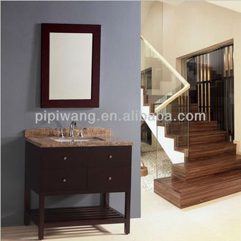 Modern floor standing solid wood bathroom cabinet 90cm for Floor standing mirrored bathroom cabinet