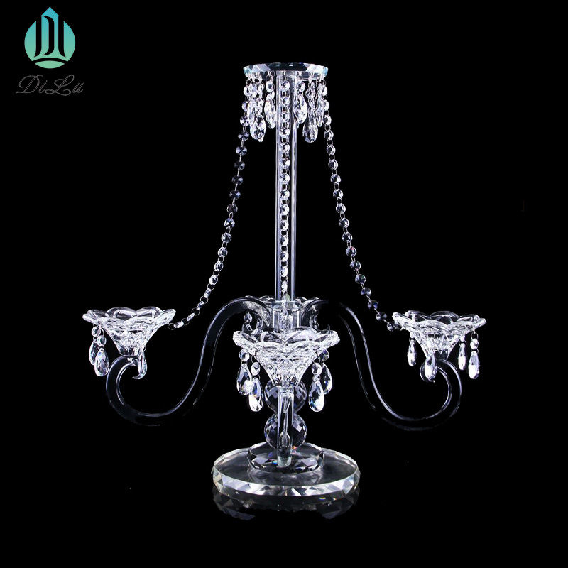 Beautiful Tall K9 crystal wedding table decoration centrepiece candelabra wedding hurricane crystal candle holder Flower stand