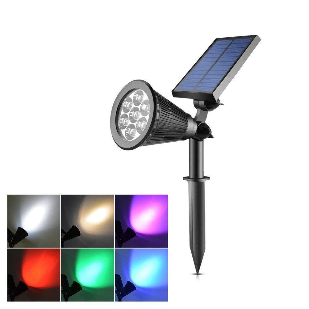 AIMENGTE LED Spotlights Solar Powered, 7 LEDs Ground Light RGB, Waterproof Security Light Outdoor Color Changing, Lawn Lamp Wall Light Landscape Lighting For Garden, Yard, Pathway. (RGB (7 Colors))