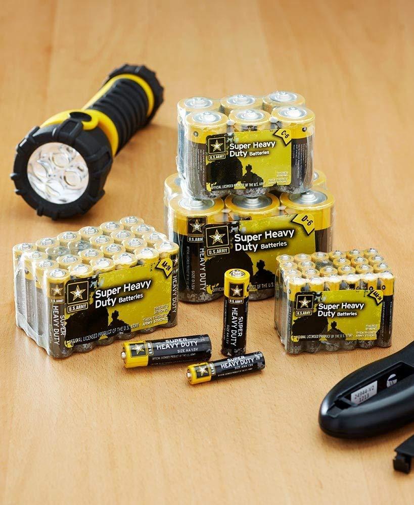 60 pc U.S. Army Super Heavy Duty Batteries 24 AA + 24 AAA + 6 C + 6 D