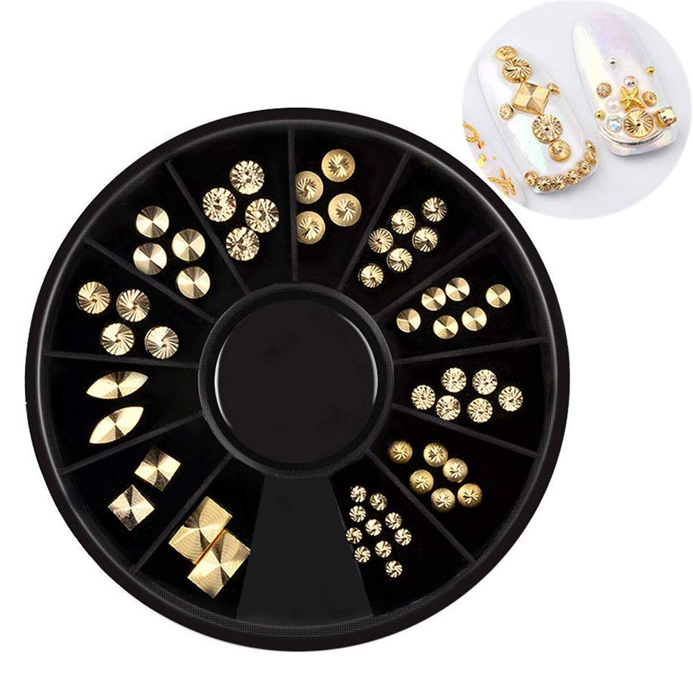 Gold Plated 3D Nail Decoration Spiral Nail Rivets in Wheel Round Metal Studs Manicure Nail Art Decorations Body Art Mixed size 3d Glitter Nail Tips