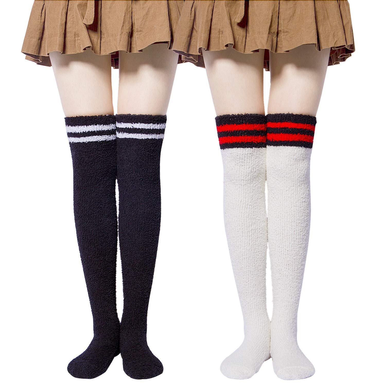795dd029d42 Get Quotations · 2 Pack Womens Slipper Socks - Cozy Fuzzy Knee High Socks  for Winter