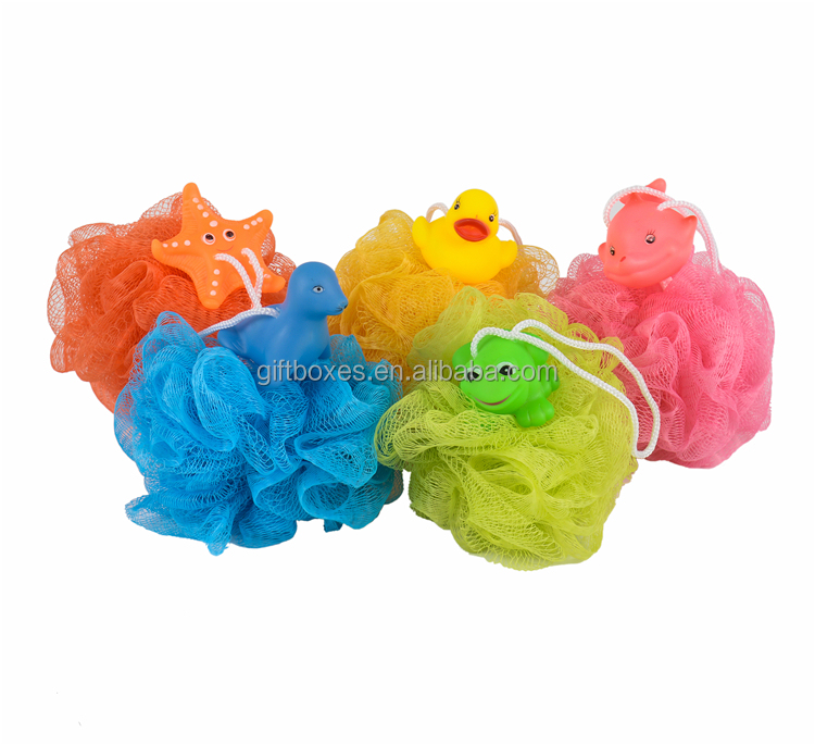 Hot Sell Net Bath Soft Mesh Baby Loofah Sponge With Animal Toys
