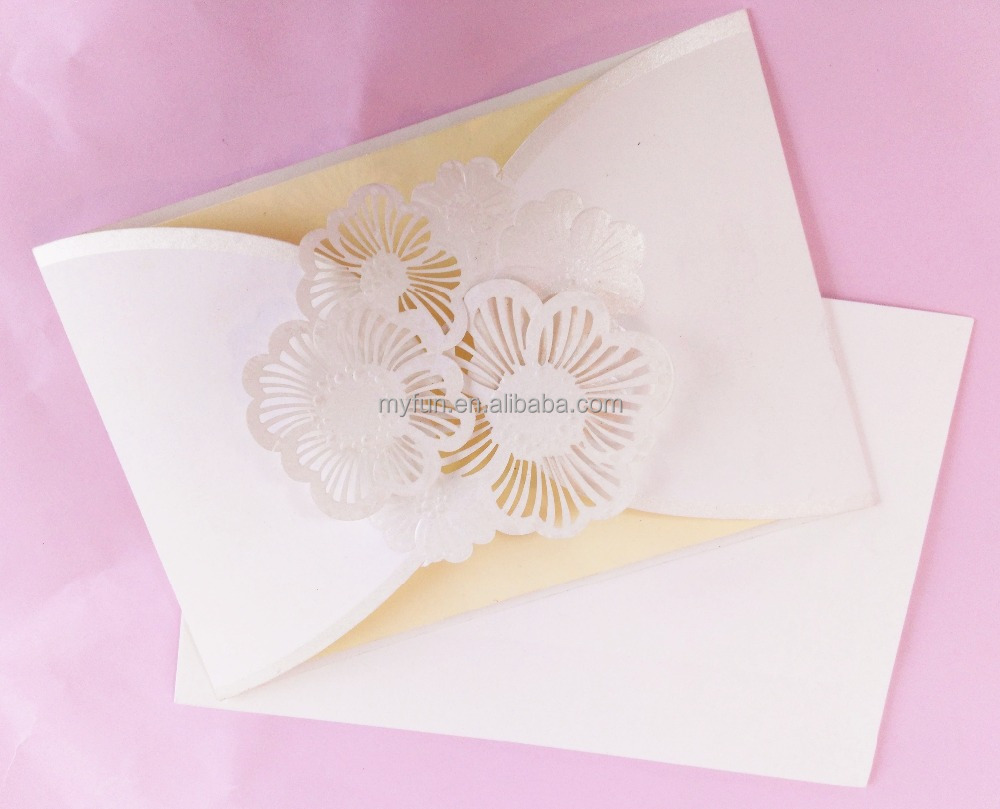 High quality hot sales luxury laser cut paper thanks greeting gift wedding invitation card