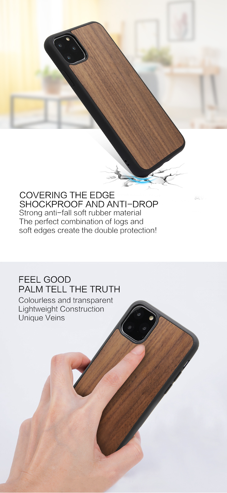Dongguan Mobile Phone Shell , Bamboo Wood Blank Phone Case For New iPhone11