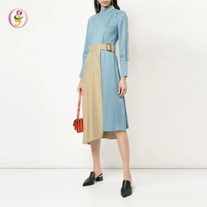 High Quality Fashion Women Cotton-Blend Two-Tone Flared Office Dress