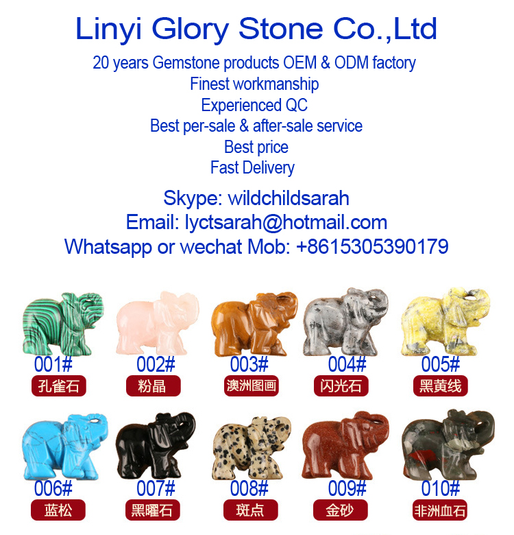 100% Gemstone Hand Carved Elephant Animal Themed Gifts