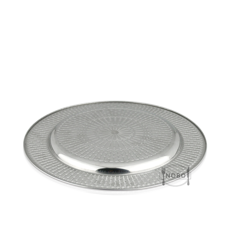 NOBO Factory Price Hammered Rim Round Brushed Stainless Steel Black Charger Plates Wedding