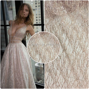 2017 rose gold elegant glitter tulle lace fabric for garment fashion show dress HuaYF