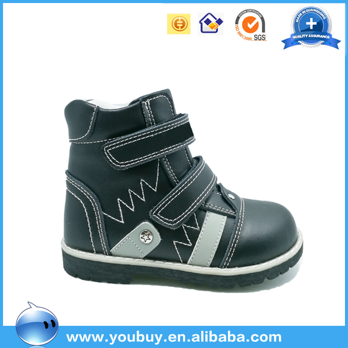 Kids Boys Black Color Leather Upper Casual Shoes Spring Boots Footwear