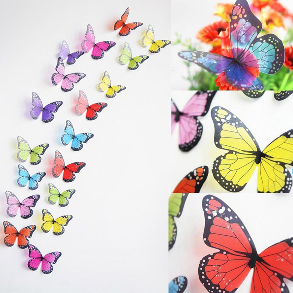 18pcs/set Creative Butterflies 3D Wall Stickers PVC Removable Art DIY Decoration Home Decor Poster for Kid Rooms Adhesive Decals