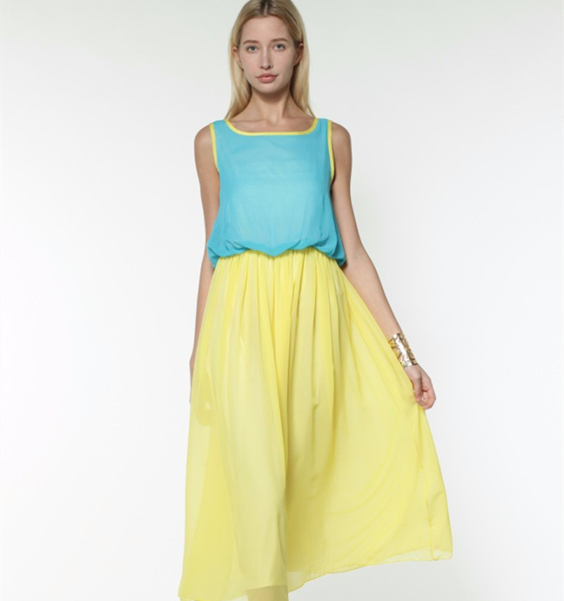 135d85d9dd 2015 Summer Style Women Candy Color Patchwork Chiffon Dress Lady Casual  Bohemian Sleeveless Stylish Long Maxi Dress vestidos