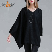 HTK Latest Loose Batwing Sleeves Cloak Women Pullover clothing