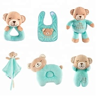 Cartoon Cute 6 PACK Newborn Baby Gift Set Sleep Teddy Bear Rattle Baby Plush Pillow Toy With Bib Soft Toy Baby Comforter Blanket