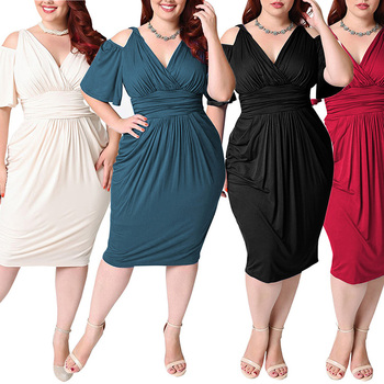 8006ddec69a42 Latest Style Fat Women Party Dresses Plus Size Deep V Neck Bare Shoulders  Dress