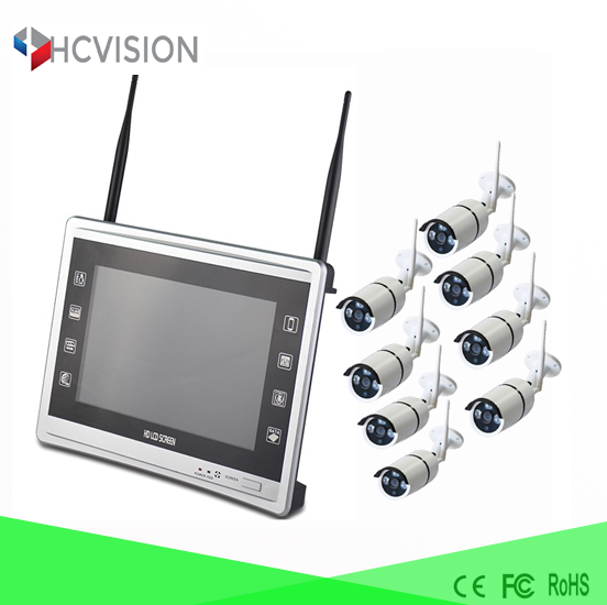rohs security camera kit 1080p wireless ip camera 8 channel LCD Screen NVR