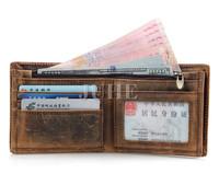 100% cowhide men leisure full grain crazy horse vintage real genuine leather wallet