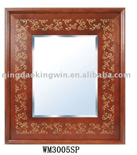 Indian Wood Wall Mirror, 22-inch x 28-inch, Features in silkscreen gold
