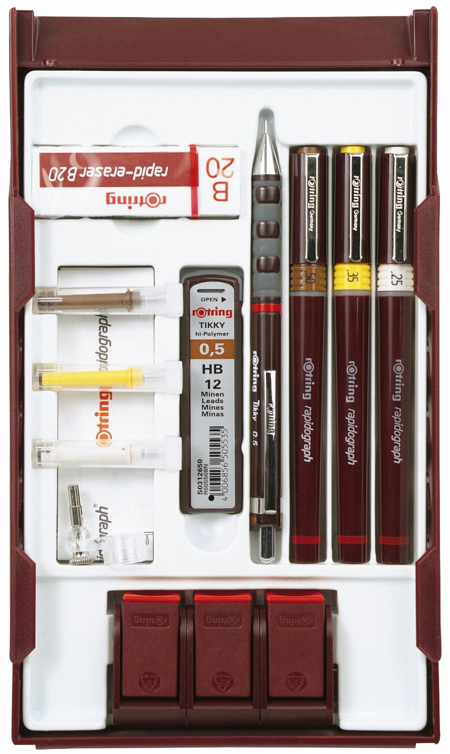 Technical Drawing Pens Rotring Isograph 0.25-0.50 mm 3 Pen College Set -