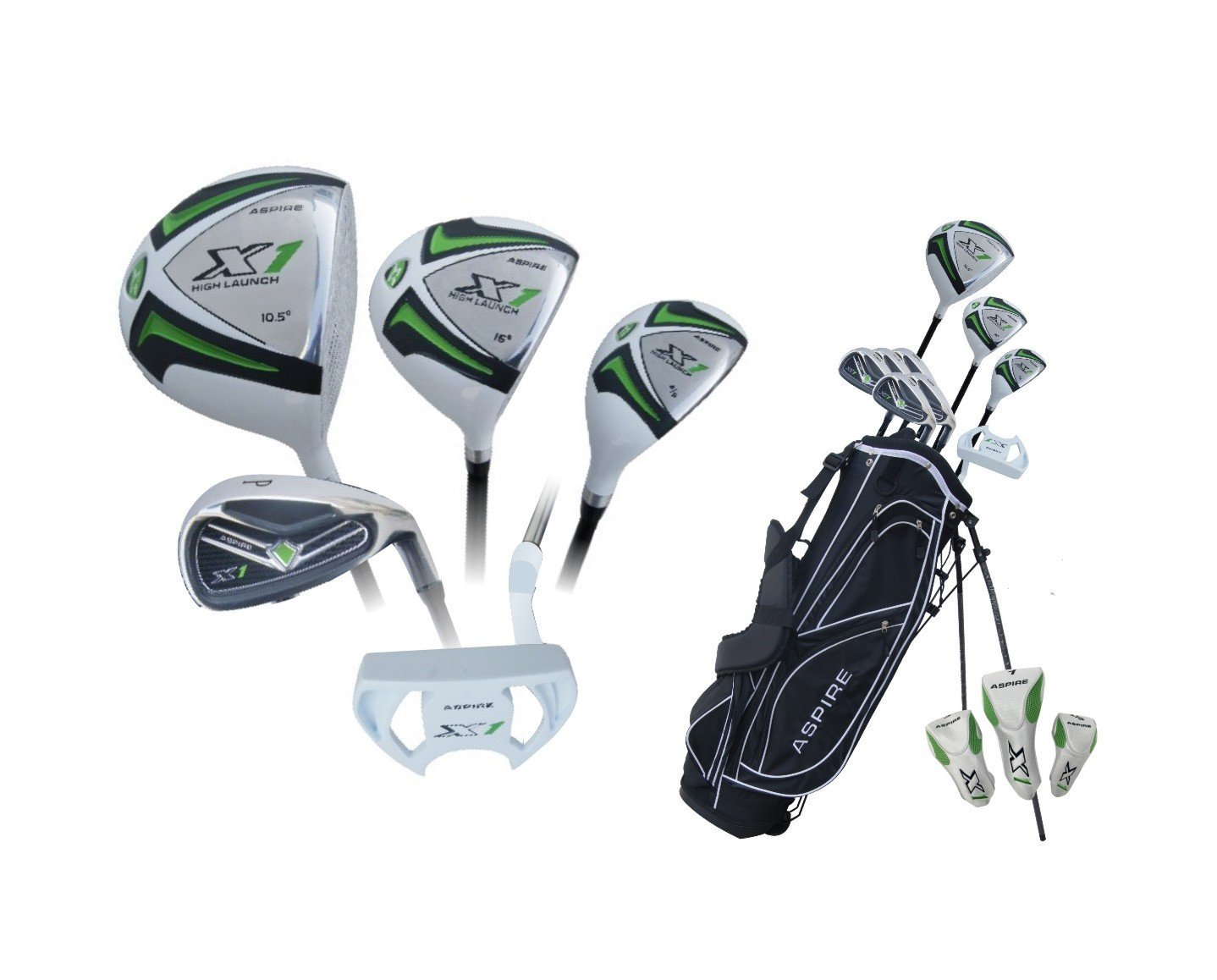 Aspire X1 Men's Complete Set (Right Hand, Graphite Hybrids with Steel Irons, Regular, 460cc Driver (10.5), #3 Wood (16), # 4/5 Hybrid Wood, 6 Thru PW Irons, Putter, Stand Bag and 3 Matching Head Covers), White