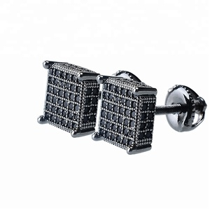 2018 china factory wholesale Black CZ Micro Paved stud earrings mens 925 sterling silver earrings