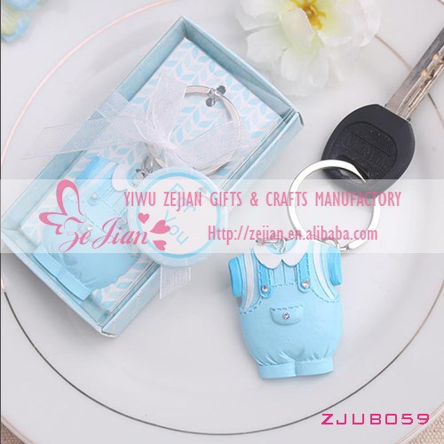 Blue Baby Boy Clothes Key Chain Keyring Favors For Baby Shower Gifts and Favors