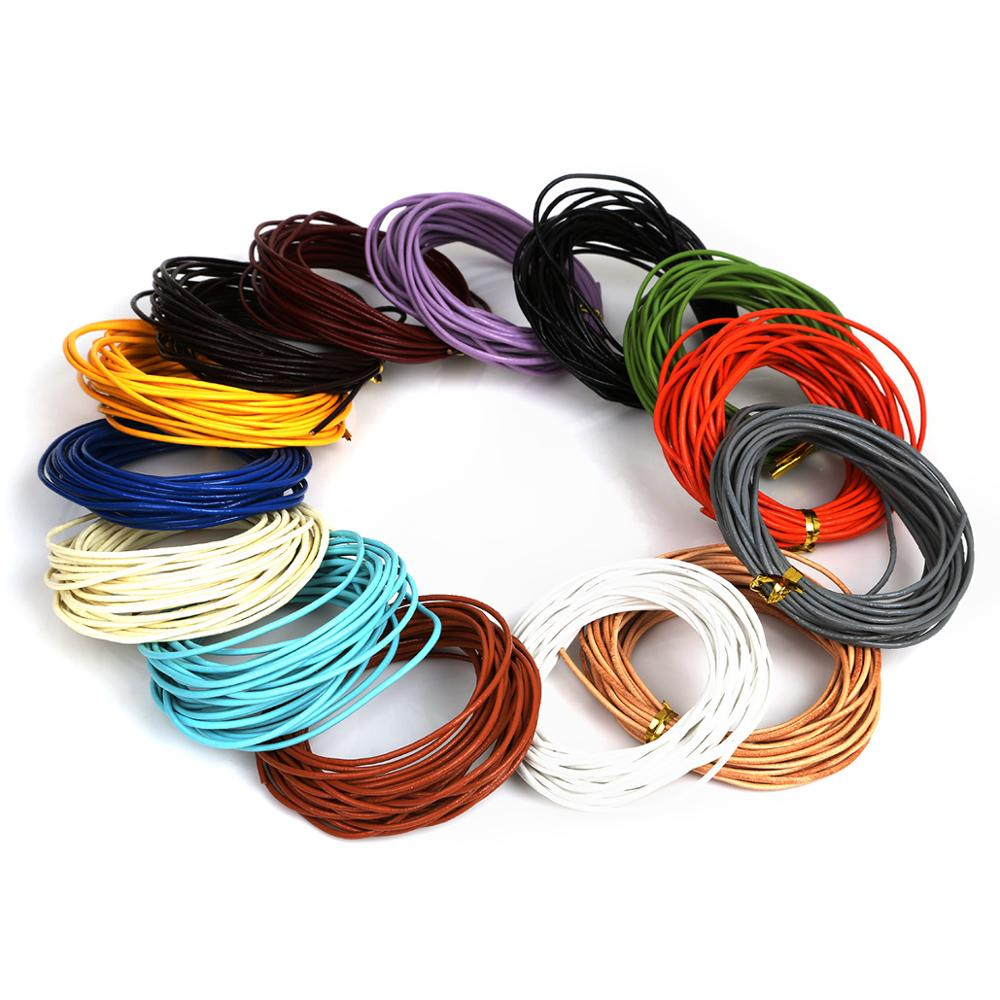 5M 1.5mm Round <strong>Genuine</strong> <strong>Leather</strong> Rope Cord Mix Color Pick Beading Cords Jewelry Findings For Necklace Bracelet DIY