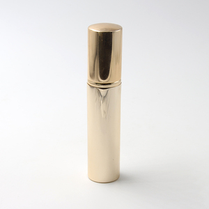 5ml glossy gold aluminum perfume refillable atomizer, small travel pocket glass spray bottle