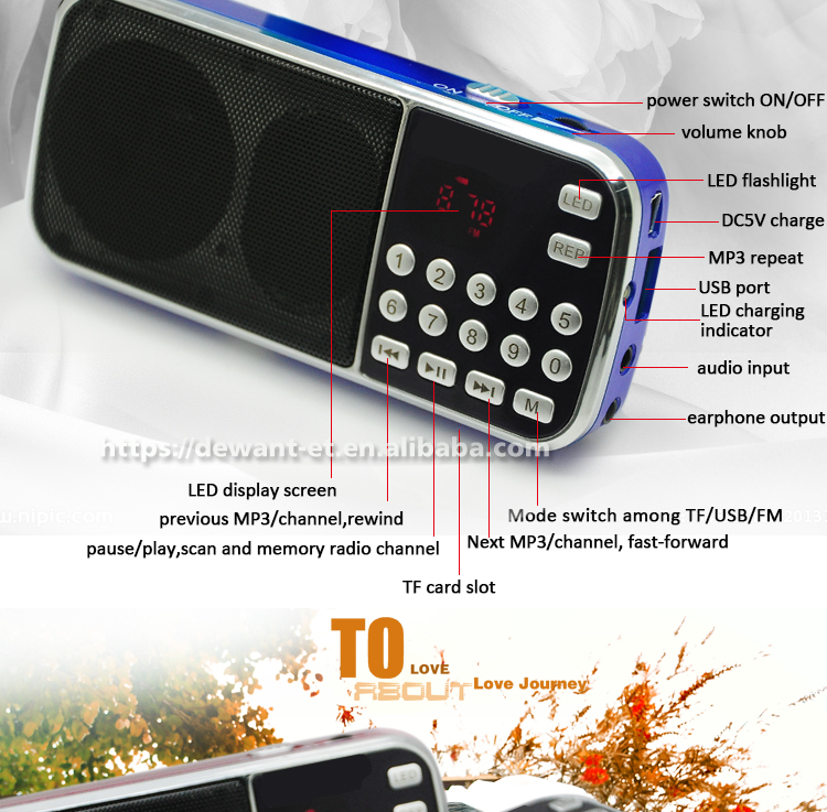 L-088 multifungsi digital mp3 radio speaker