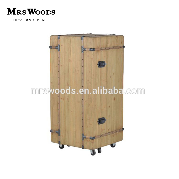 Rolling industrial style vintage box trunk wood wine cabinet