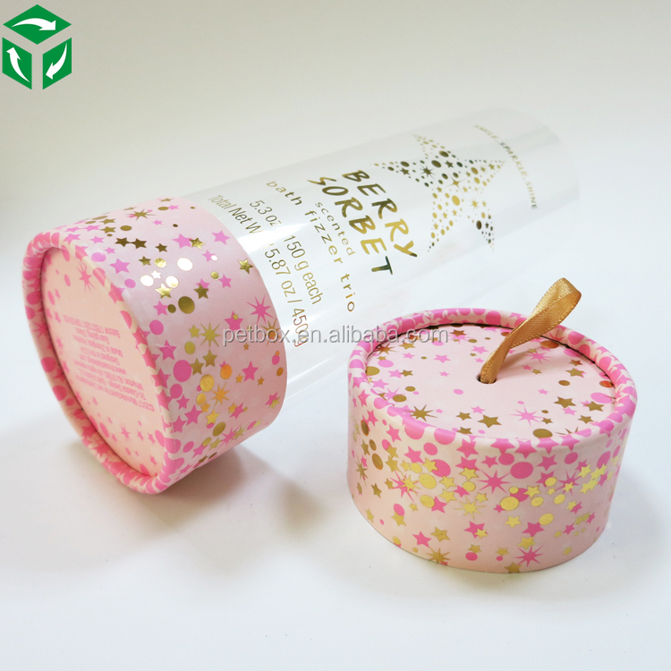clear packing acetate candy packaging cylinder plastic tube with paper cap lid