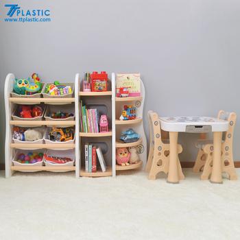 Cute Bookshelf cute children's the plastic bookcase with study table/bookshelf