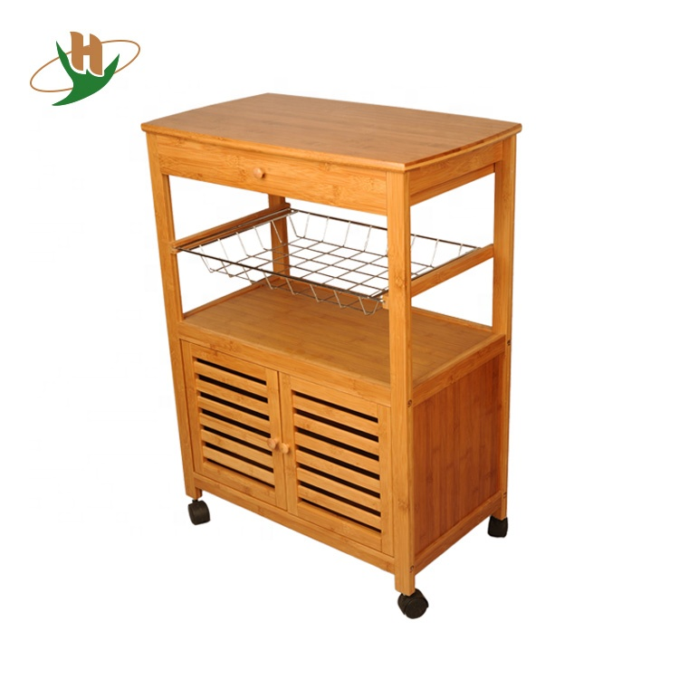 Bamboo Wood Wire Kitchen Serving Trolley Cart With Cabinet / Drawer /  Wheels - Buy Kitchen Serving Trolley Cart,Kitchen Cart,Wire Kitchen Cart  Product ...