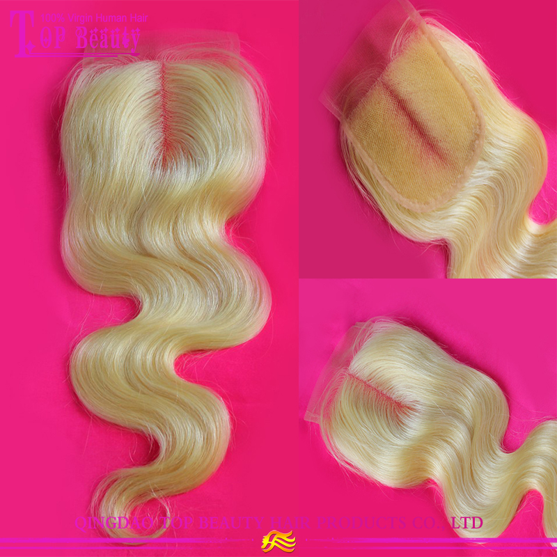 Bohemian Hair With Closure Middle Parting Silk Base Lace Closure Blonde
