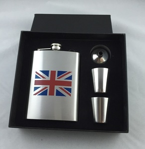 gift box packing with funnel and shot glass custom logo stainless steel hip flask whisky flask
