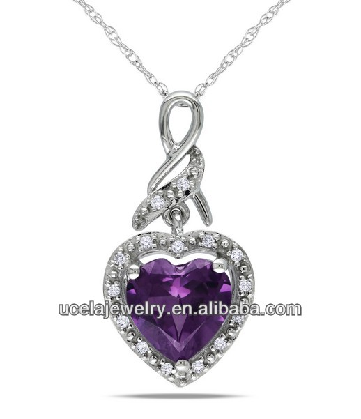 Diamond Accent Created Alexandrite necklace wholesale italian 925 silver beaded necklace