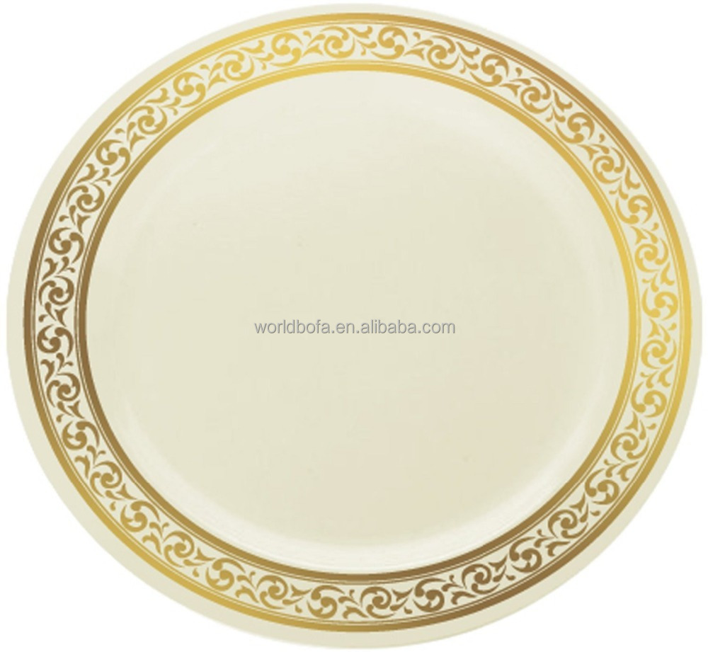 Disposable plastic rose gold wedding charger plates duty plate plastic tableware
