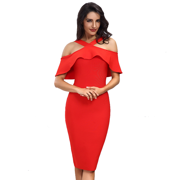 Alibaba.com / 2019 latest women Red Black White party wear Off The Shoulder Celebrity Party Bandage Evening Dress Wholesale
