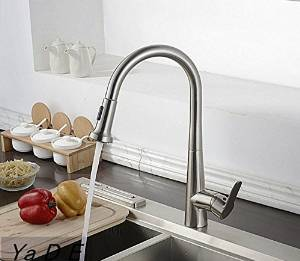Furesnts Modern home kitchen and bathroom faucet Copper all pull kitchen faucet hot and cold water sink swivel Faucet,(Standard G 1/2 universal hose ports)