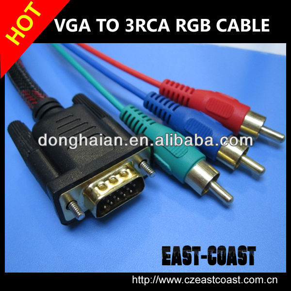 VGA HD15 to 3 RCA RGB COMPONENT CABLE