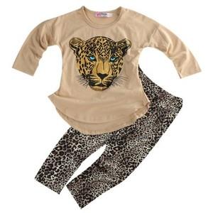 S64988B Girls Leopard Set Children Wear Leggings Leopard Two-piece Set